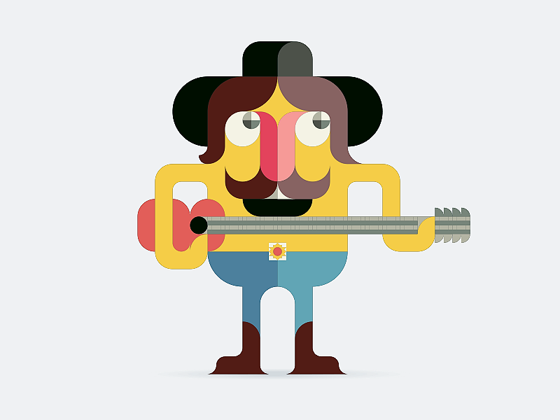 funny illustration love mexican musician sticker